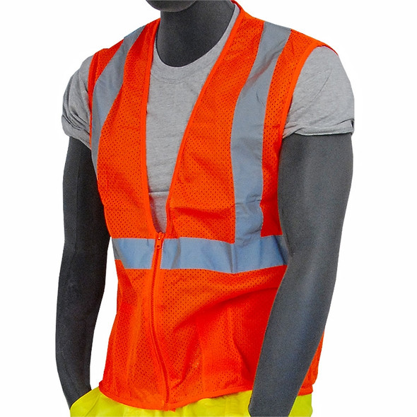 Majestic Class 2 Hi Vis Orange Mesh Safety Vest Zipper Front 75-3202