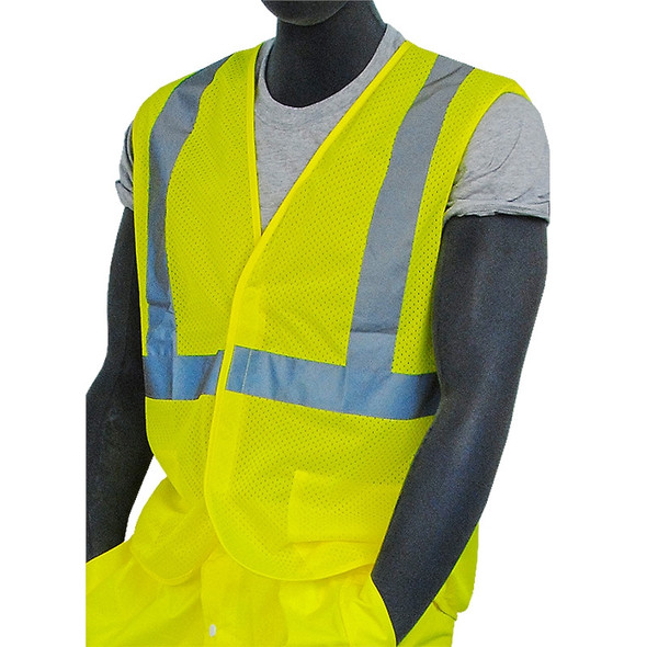 Majestic Class 2 Hi Vis Yellow Mesh Safety Vest Velcro Front 75-3203