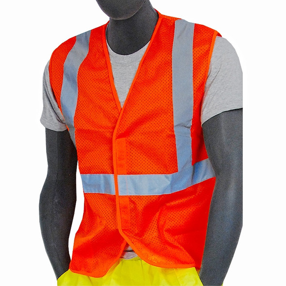 Majestic Class 2 Hi Vis Orange Mesh Vest Velcro Front 75-3204