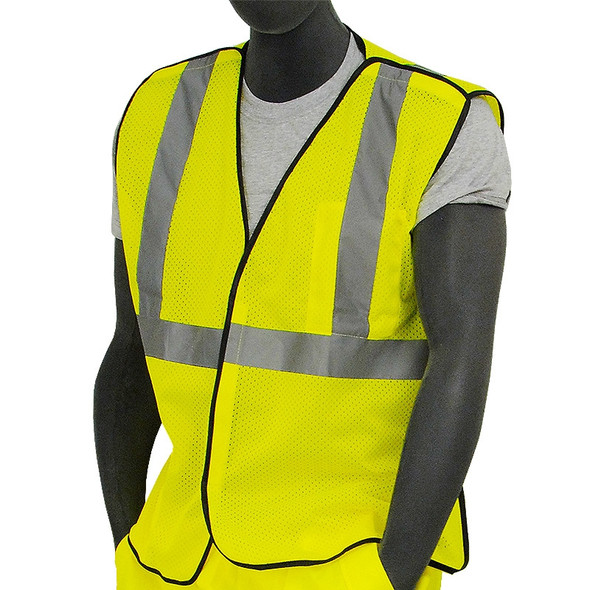 Majestic Class 2 Hi Vis Yellow 5 Point Break Away Mesh Vest Velcro Front 75-3205