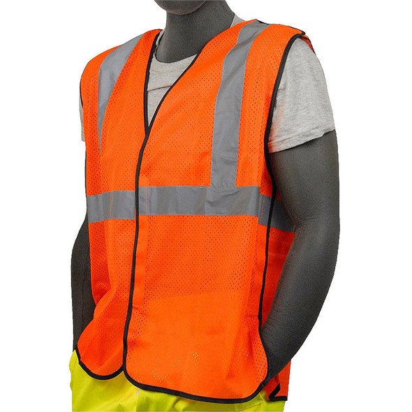 Majestic Class 2 Hi Vis Orange 5 Point Break Away Mesh Vest Velcro Front 75-3206