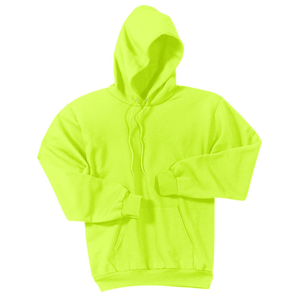 Port and Company Enhanced Visibility Hooded Sweatshirt PC90H Safety Green/Front