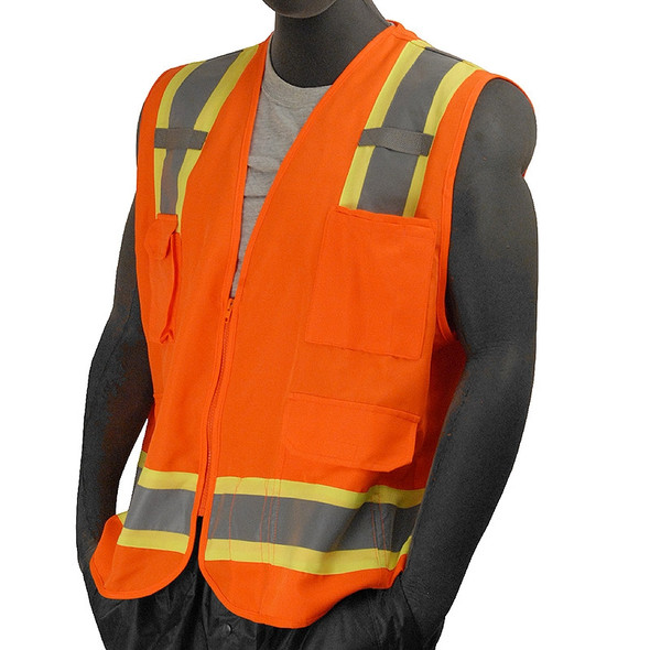 Majestic Class 2 Hi Vis Orange Surveyors Vest 7 Pocket Zipper Front 75-3222