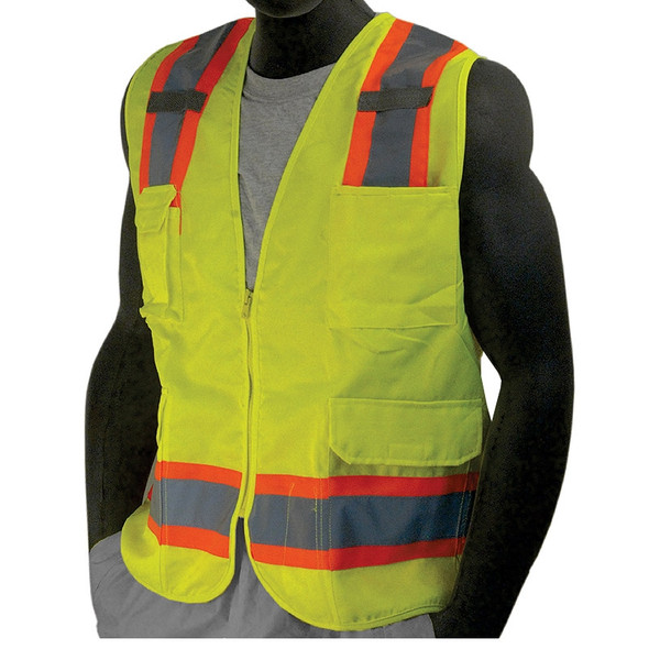 Majestic Class 2 Hi Vis Yellow Surveyors Vest 7 Pocket Zipper Front with Mesh Back 75-3223
