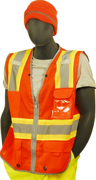 Majestic Class 2 Hi Vis Two-Tone Orange Safety Vest 75-3226