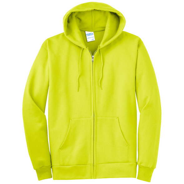 Port and Company Enhanced Visibility Hooded Zip Up Sweatshirt PC90ZH Safety Green/Front