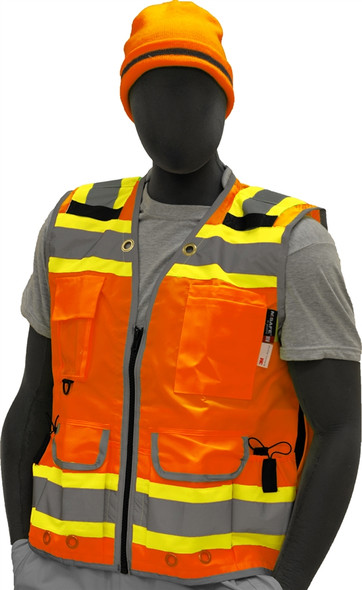 Majestic Class 2 Hi Vis Orange Two-Tone Surveyors Safety Vest 75-3236