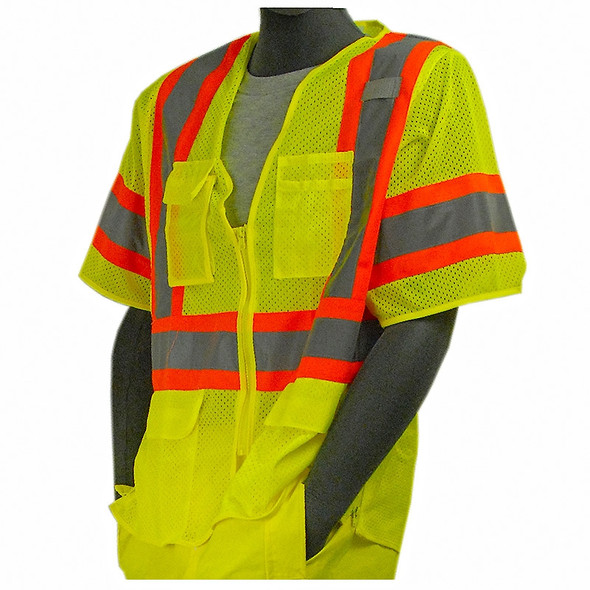 Majestic Class 3 Hi Vis Yellow Mesh Safety Vest with Zipper Front 75-3301