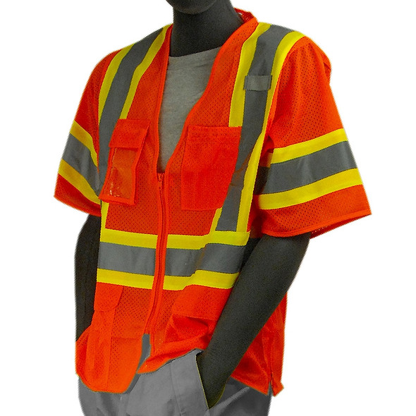 Majestic Class 3 Hi Vis Orange Zipper Front Mesh Safety Vest 75-3302