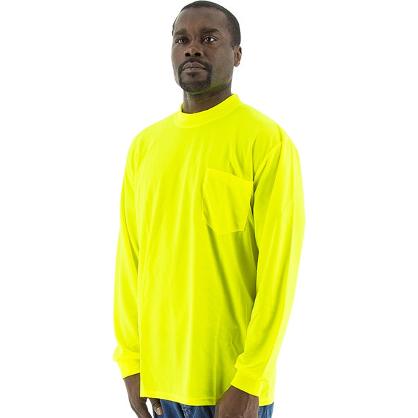 Majestic Non-ANSI Hi Vis Yellow Moisture Wicking Long Sleeve T-Shirt 75-5045