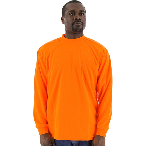 Majestic Non-ANSI Hi Vis Orange Moisture Wicking Long Sleeve T-Shirt 75-5046