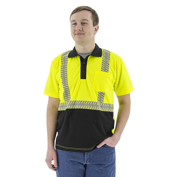 Majestic Class 2 Hi Vis Yellow Polo Safety Shirt Reflective Chainsaw Striping 75-5213