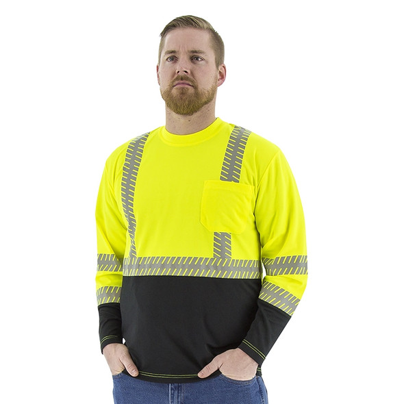 Majestic Class 2 Hi Vis Yellow Black Bottom Long Sleeve T-Shirt with Chainsaw Reflective 75-5257