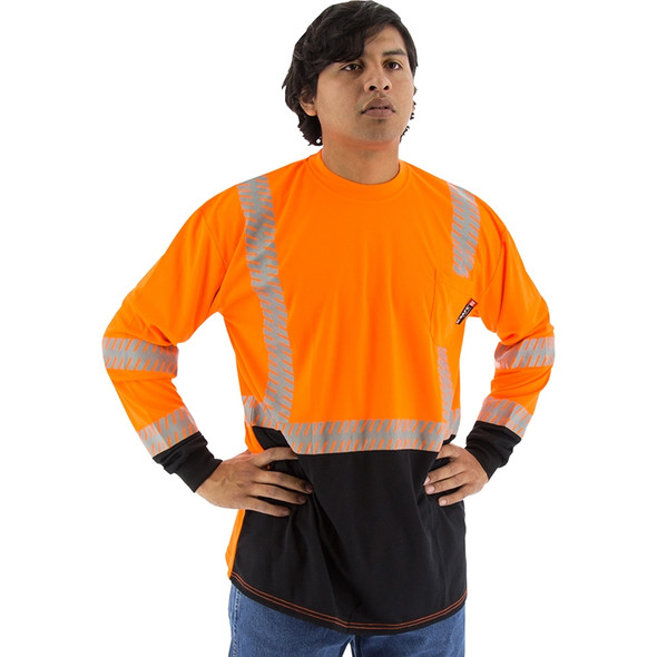 Majestic Class 2 Hi Vis Orange Black Bottom Long Sleeve T-Shirt with Chainsaw Striping 75-5258