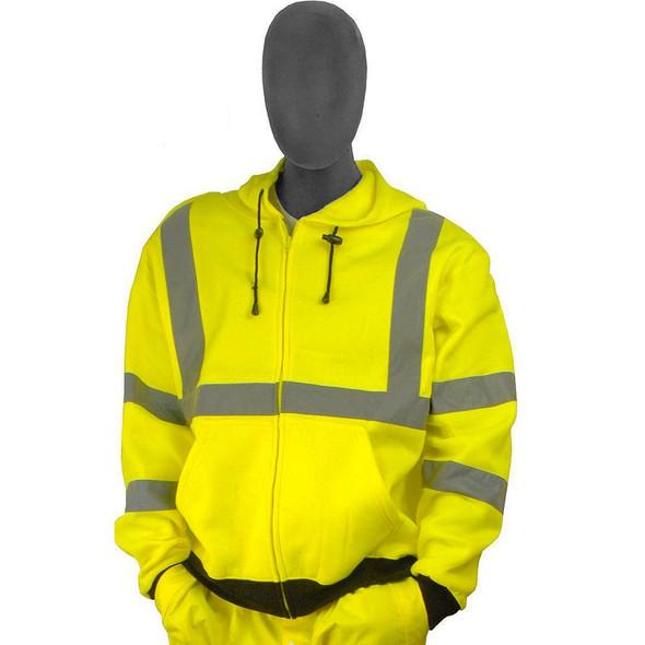 Majestic Class 3 Hi Vis Yellow Zipper Front Hooded Sweatshirt 75-5323