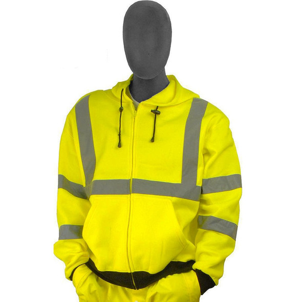 Majestic Class 3 Hi Vis Yellow Zipper Front Hooded Sweatshirt 75-5323