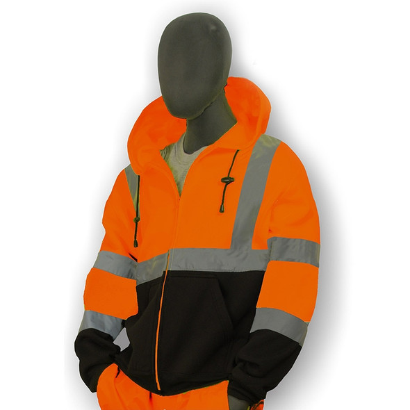 Majestic Class 3 Hi Vis Orange Black Bottom Zip Up Hooded Sweatshirt 75-5326