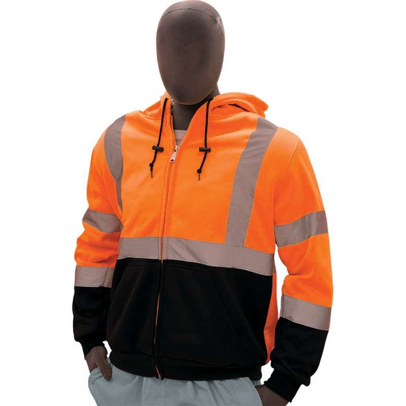 Majestic Class 3 Hi Vis Orange Hooded Sweatshirt with Teflon Protector 75-5332