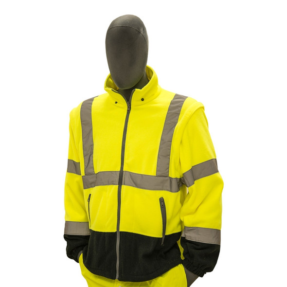 Majestic Class 3 Hi Vis Yellow Black Bottom Fleece Jacket Liner 75-5383