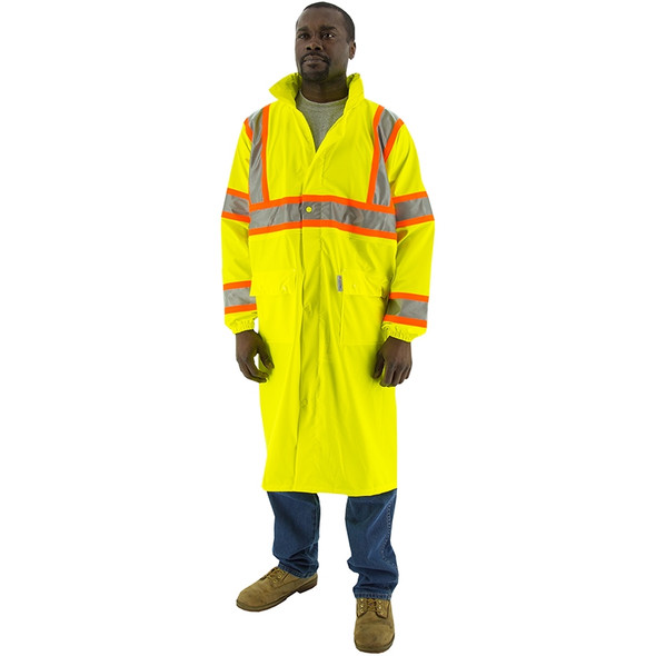 Majestic Class 3 Hi Vis Yellow DOT Raincoat 75-7303