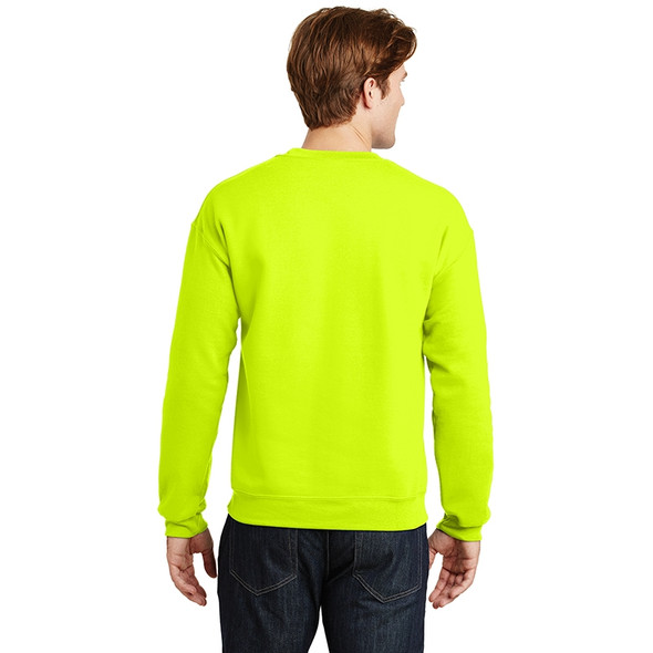 Gildan Enhanced Visibility Heavy Blend Crewneck Sweatshirt 18000 Safety Green/Back