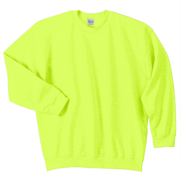 Gildan Enhanced Visibility Heavy Blend Crewneck Sweatshirt 18000 Safety Green Front