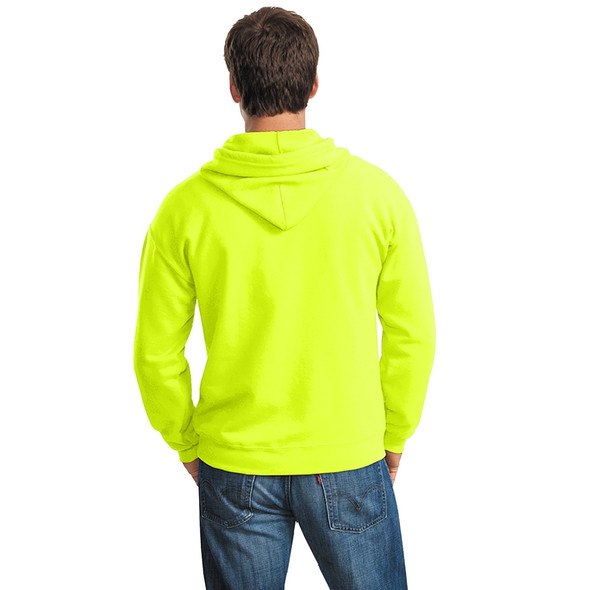 Gildan Enhanced Visibility Full-Zip Hooded Sweatshirt 18600 Safety Green/Back