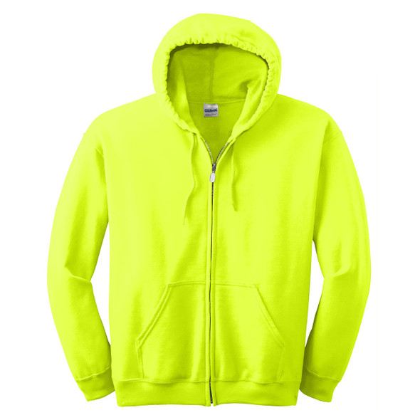 Gildan Enhanced Visibility Full-Zip Hooded Sweatshirt 18600 Safety Green Front