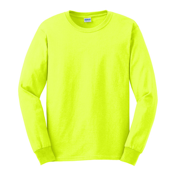 Gildan Hi Vis Ultra Cotton Long Sleeve T-Shirt G2400 Safety Green/Front