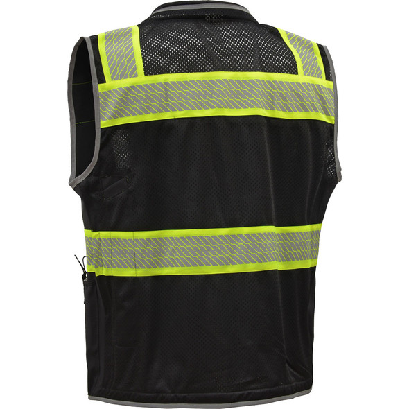 GSS Enhanced Visibility Black Premium ONYX Surveyors Vest with Segmented Tape 1513 Back