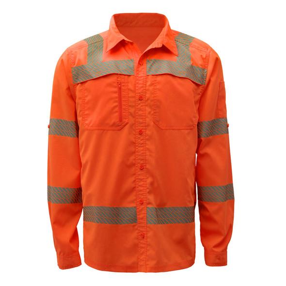 GSS Class 3 Hi Vis Orange Lightweight Rip Stop Work Shirt 7506