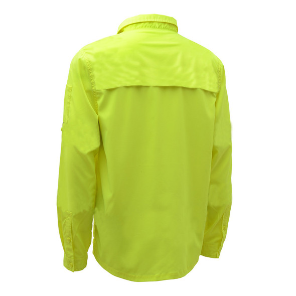 GSS Non-ANSI Hi Vis Lightweight Lime Rip Stop Work Shirt 7507 Back
