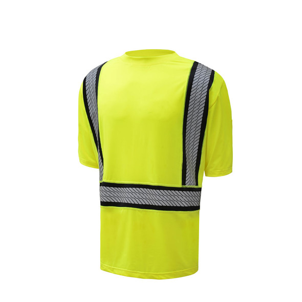 GSS Class 2 Hi Vis Lime Moisture Wicking T Shirt with Segment Tape 5701 Right Side