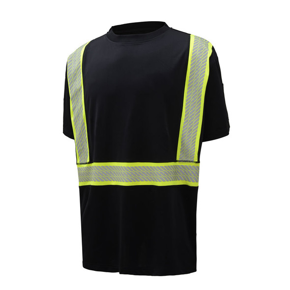 GSS Enhanced Visibility Black Premium ONYX T-Shirt with Segmented Tape 5703 Front Angled Right