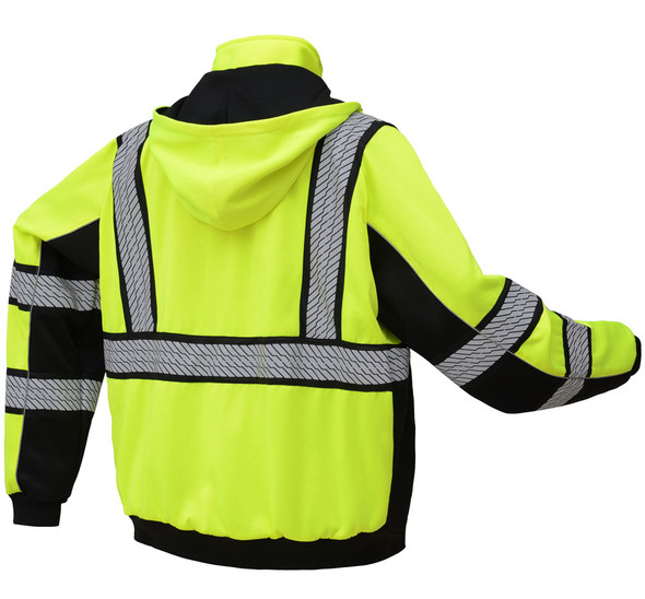 GSS Class 3 Hi Vis Lime Zip Up Hooded Sweatshirt 7511 Back