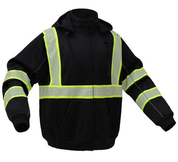GSS Enhanced Visibility Black Premium ONYX Zip Up Hooded Sweatshirt 7513 Side