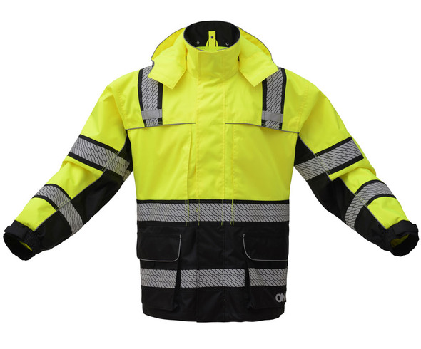 GSS Class 3 Hi Vis Premium ONYX Lime Black Bottom Rain Jacket with Segment Tape and Teflon Protector 6501 Front