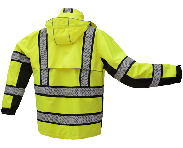 GSS Class 3 Hi Vis Premium ONYX Lime Black Bottom Rain Jacket with Segment Tape and Teflon Protector 6501 Back
