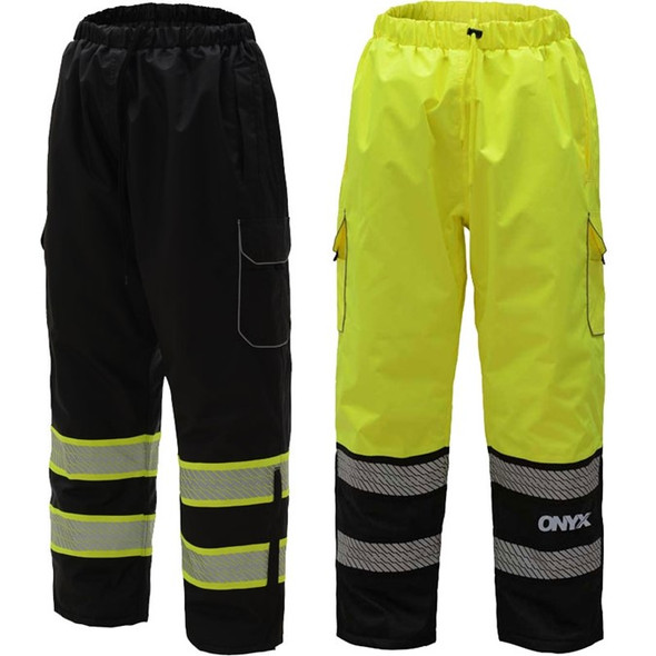 GSS Enhanced Visibility Black ONYX Rain Pants with Segmented Tape and Teflon Protector 6713