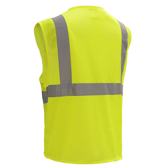 GSS Class 2 Hi Vis Lime Economy Mesh Vest with Zipper 1001 Back