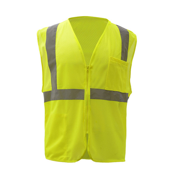 GSS Class 2 Hi Vis Lime Economy Mesh Vest with Zipper 1001 Front