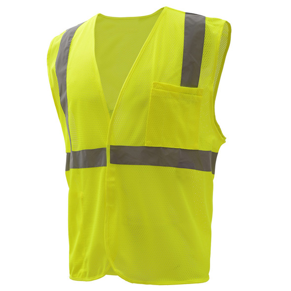 GSS Class 2 Hi Vis Lime Economy Mesh Hook and Loop Vest 1003 Right Side