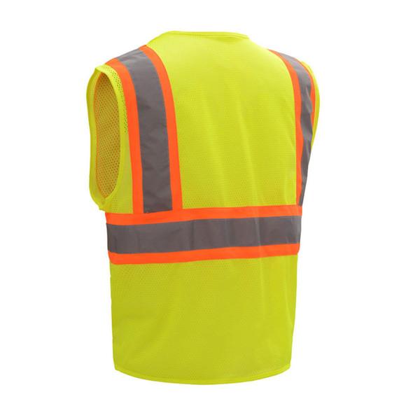 GSS Class 2 Hi Vis Lime Mesh 2 Tone Vest with Zipper 1005