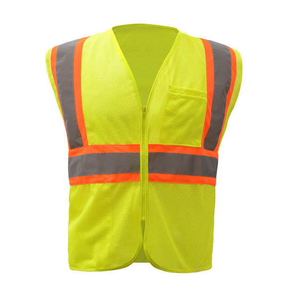 GSS Class 2 Hi Vis Lime Mesh 2 Tone Vest with Zipper 1005