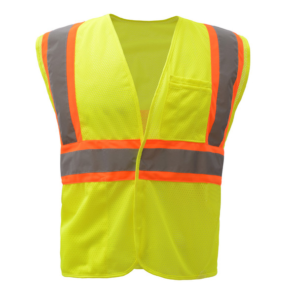 GSS Class 2 Hi Vis Lime Mesh 2 Tone Hook and Loop Vest 1007