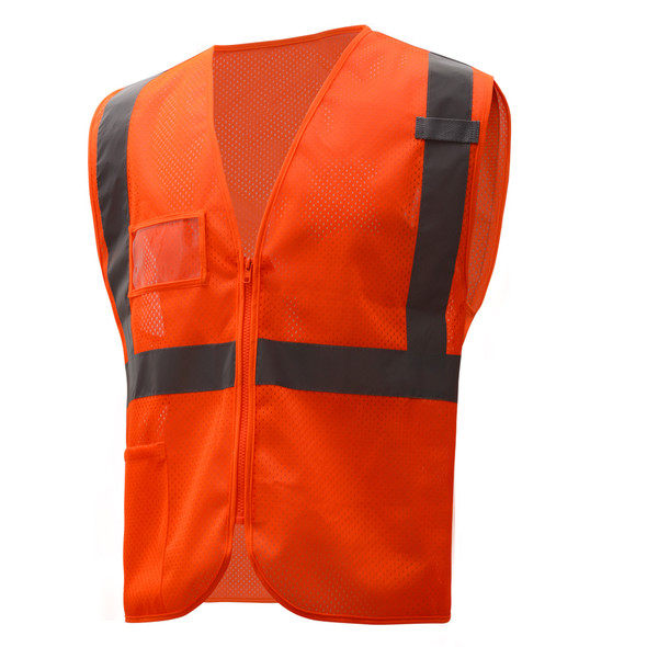 GSS Class 2 Hi Vis Orange Mesh Vest with Zipper and ID Pocket 1010