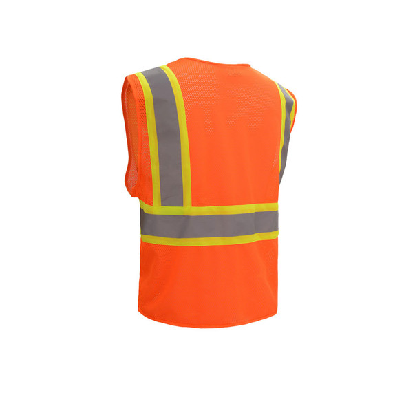 GSS Class 2 Hi Vis Orange Mesh 2 Tone Vest with Zipper 1006