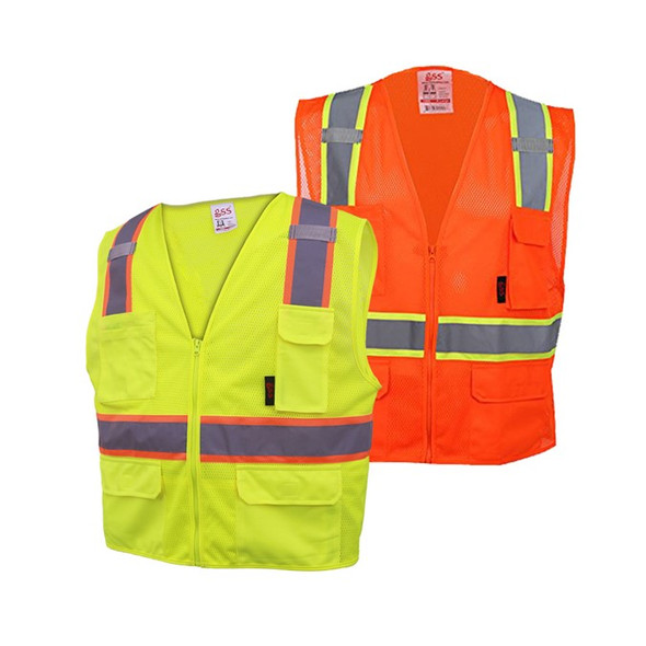 GSS Class 2 Hi Vis Orange Mesh 2 Tone Vest with 6 Pockets 1502