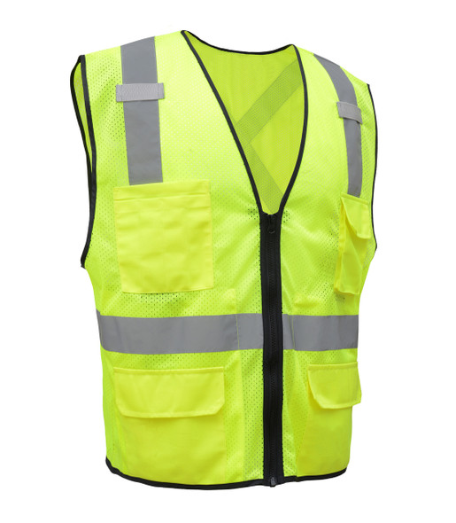 GSS Class 2 X-Back Hi Vis Lime Mesh Utility Vest with iPad Pockets 1605 Right Side