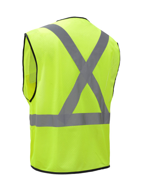 GSS Class 2 X-Back Hi Vis Lime Mesh Utility Vest with iPad Pockets 1605 Back